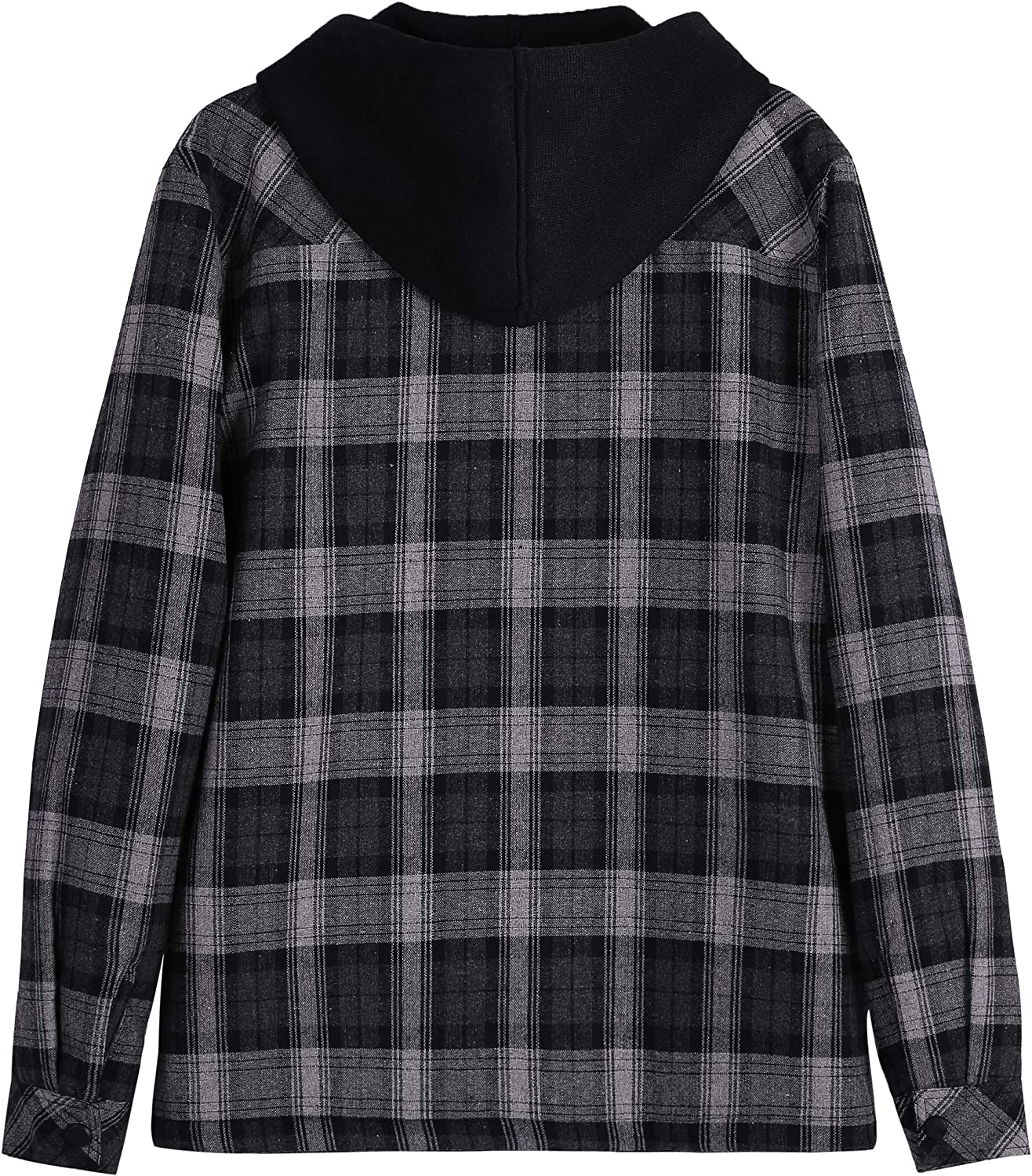 ZENTHACE Mens Sherpa Lined Full Zip Hooded Plaid Shirt Jacket