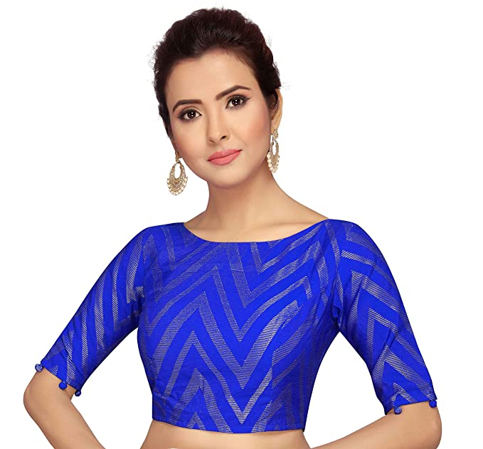 def15c7d5362f7 Studio Shringaar Women's Benaras Brocade and Georgette Ready-made Saree  Blouse with Elbow Length Sleeves