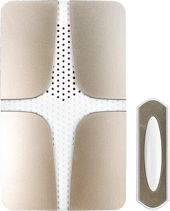 Heath Zenith SL-6400 Wireless Battery Operated Push Button with Lifetime Finish Polished Brass