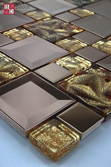 Glasmosaik Mosaike Mosaikfliesen Glasfliesen Mosaik Glas Edelstahl - Mosaik fliesen braun gold