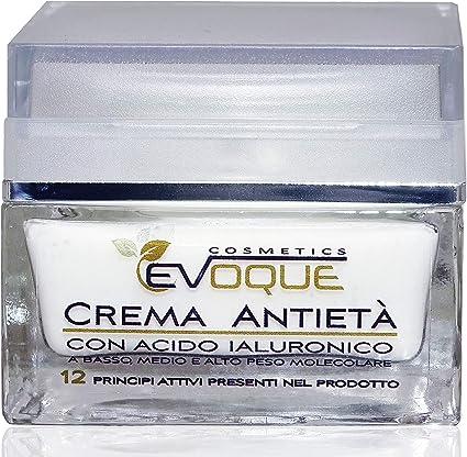Crema Facial Antiarrugas Mujer con Ácido Hialurónico Puro. Antiarrugas e Hidratante Rica en Ingredientes Activos Vegano. Evoque Cosmetics Italy.: Amazon.es: Belleza
