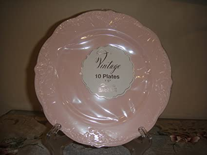 Vintage Disposable Round Plastic Plates - 7.5u0026quot; ... & Amazon.com: Vintage Disposable Round Plastic Plates - 7.5