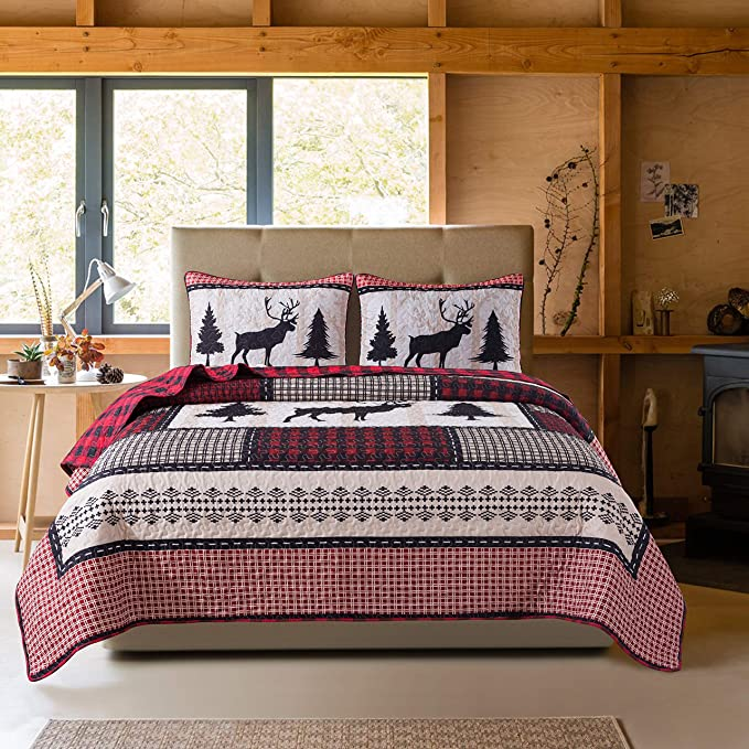Soul /& Lane Deer in The Pines Bedding Quilt Set Twin with 1 sham Christmas Buffalo Check Plaid Lightweight Quilted Bedspread