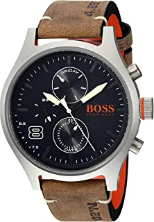 HUGO BOSS Mens Amsterdam Quartz Stainless Steel and Leather Casual Watch, Color: