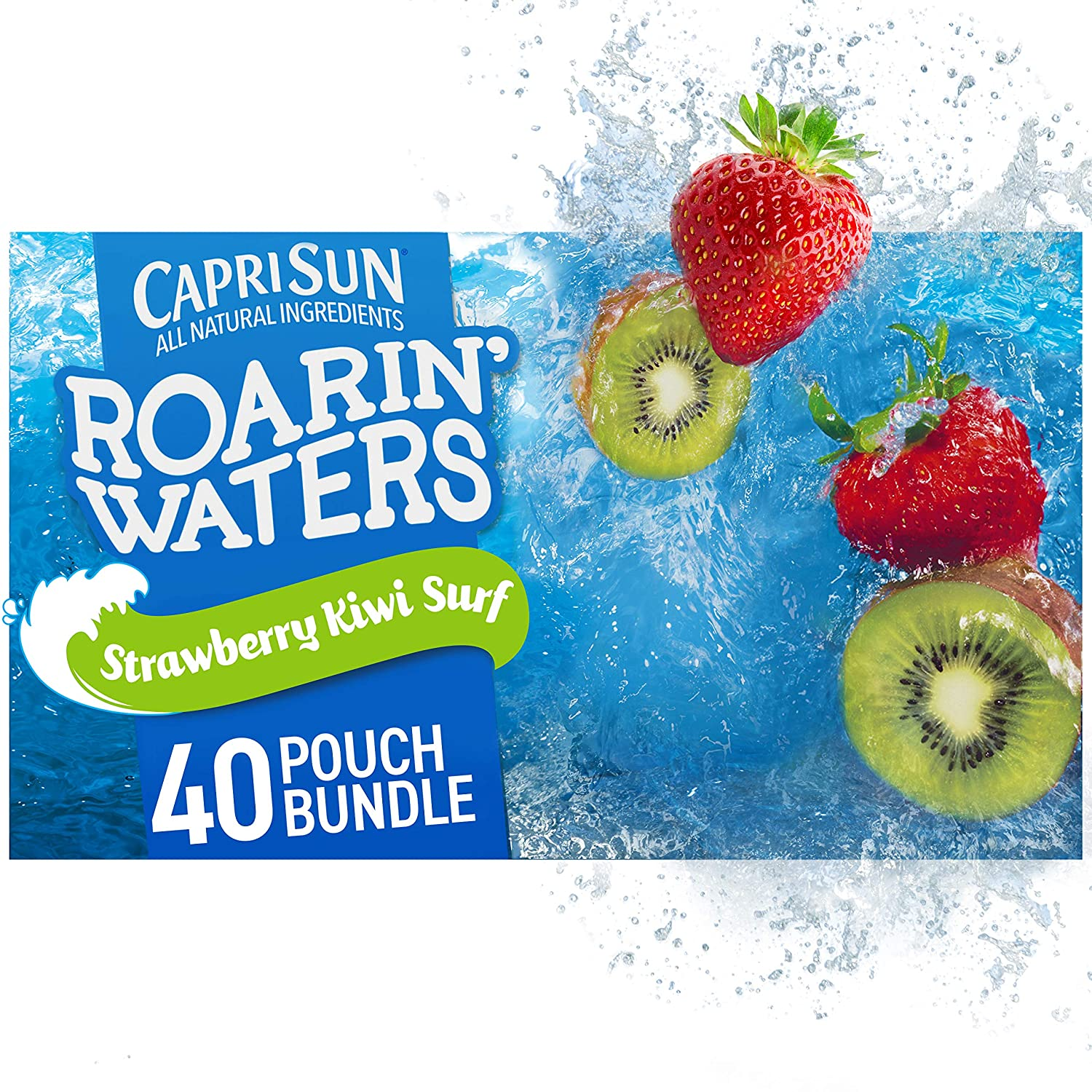 Capri Sun Roarin' Waters Strawberry Kiwi Surf Ready-to-Drink Juice (40 Pouches, 4 Boxes of 10)