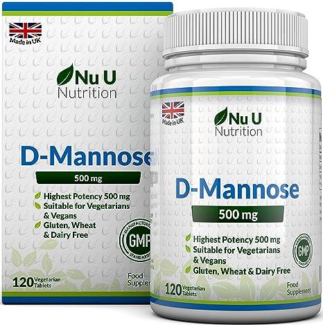 Comprimidos de D-Manosa de 500mg | 120 comprimidos | Alta Potencia | Libre de
