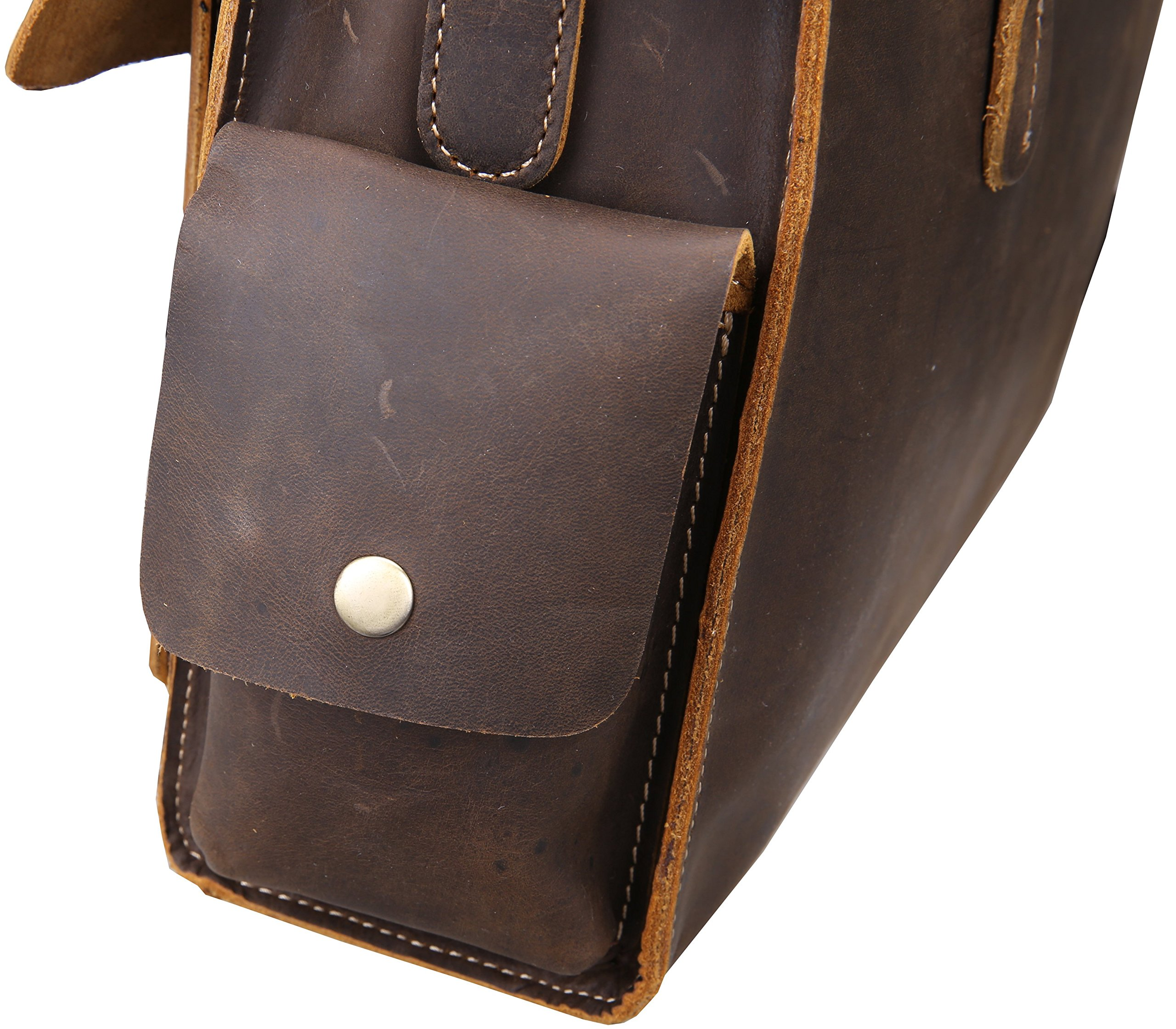 Iswee Vintage Leather Messenger Bag 13.3'' Laptop Briefcase Shoulder Bag for Men by Iswee (Image #5)