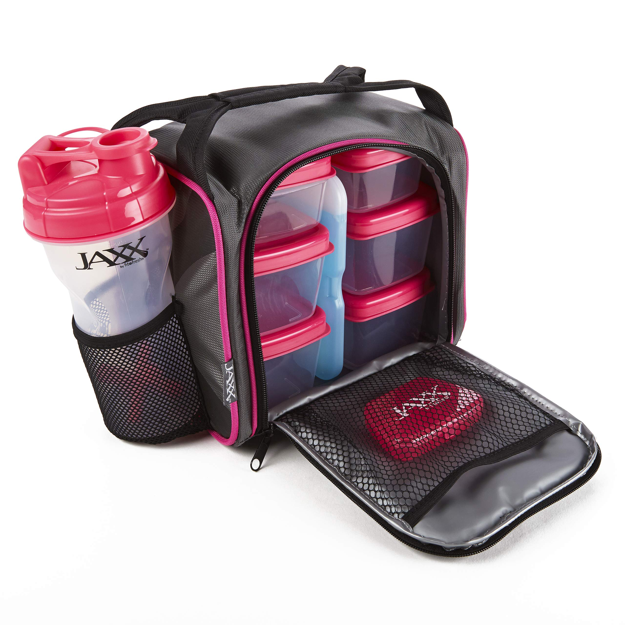 Fit and Fresh 944FFJX232C Original Jaxx FitPak Insulated Cooler Lunch Box, Meal Prep Bag with Portion Control Containers, Ice Pack, 28 oz Shaker, Standard, Pink by Fit & Fresh
