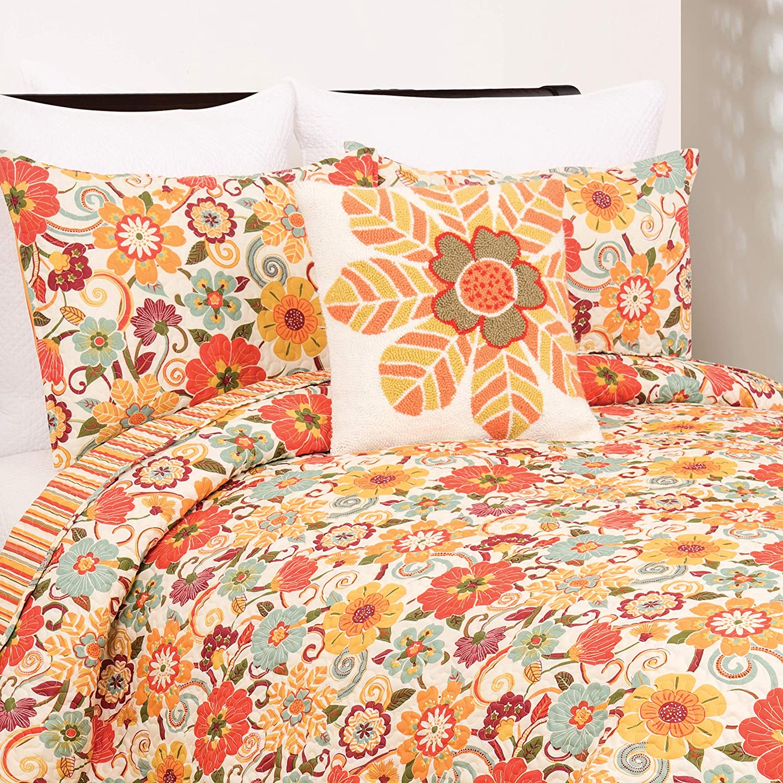 C&F Home Riley 3 Piece Quilt Set All-Season Reversible Bedspread Oversized Bedding Coverlet, King Size, Orange