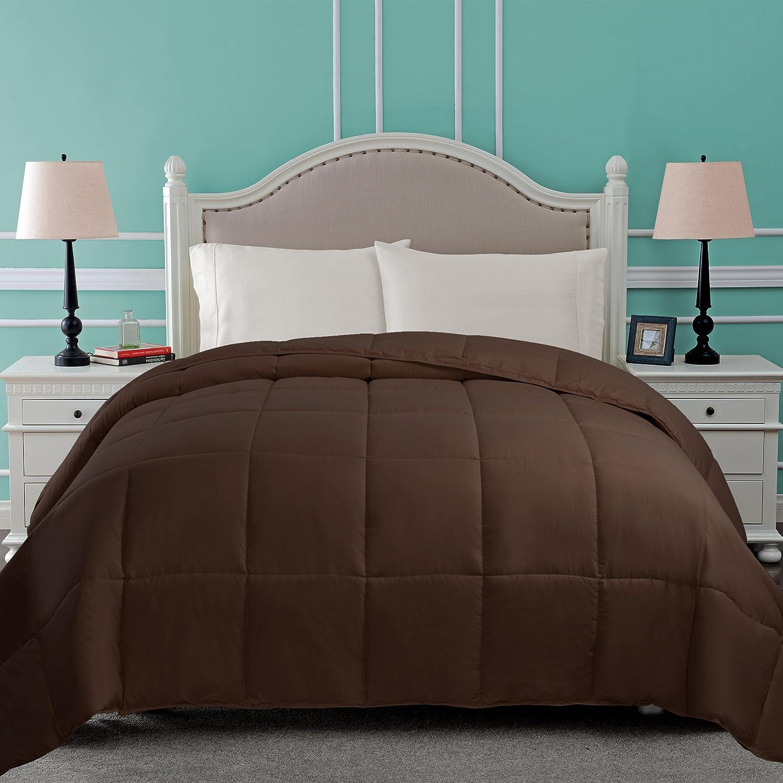 SUPERIOR Down Alternative Comforter - Bed Comforter, Medium-Fill Weight, All Season Comforter, King, Chocolate
