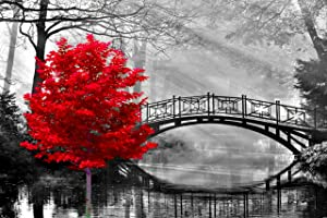 najiaxiaowu Adult Puzzle Classic Jigsaw Puzzle 1000 Pieces Wooden Puzzle DIY Black and White Bridge and Red Tree Modern Home Decor Intellectual Game Wall Art Unique Gift 75x50cm