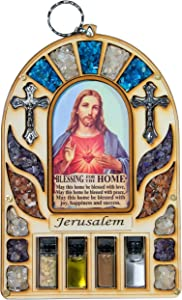 TALISMAN4U Wooden Home Blessing Wall Decor Sacred Heart of Jesus Jerusalem Soil Cross Catholic Gift Holy Land