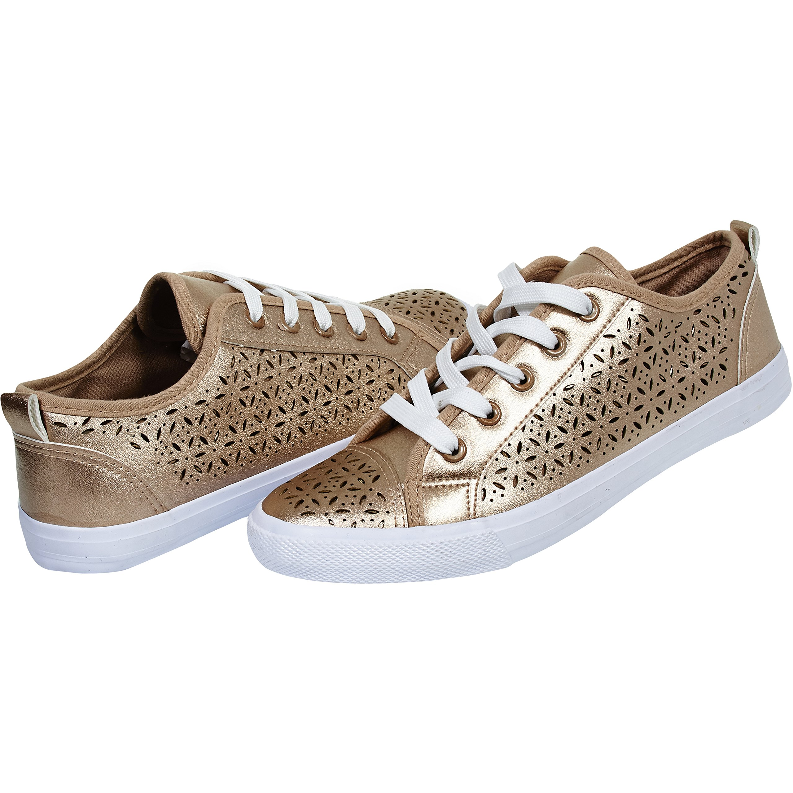 Chatties By Sara Z Womens Perforated Fashion Sneakers Tie Up Slip On With Laces For Ladies Size 7/8 Rose Gold