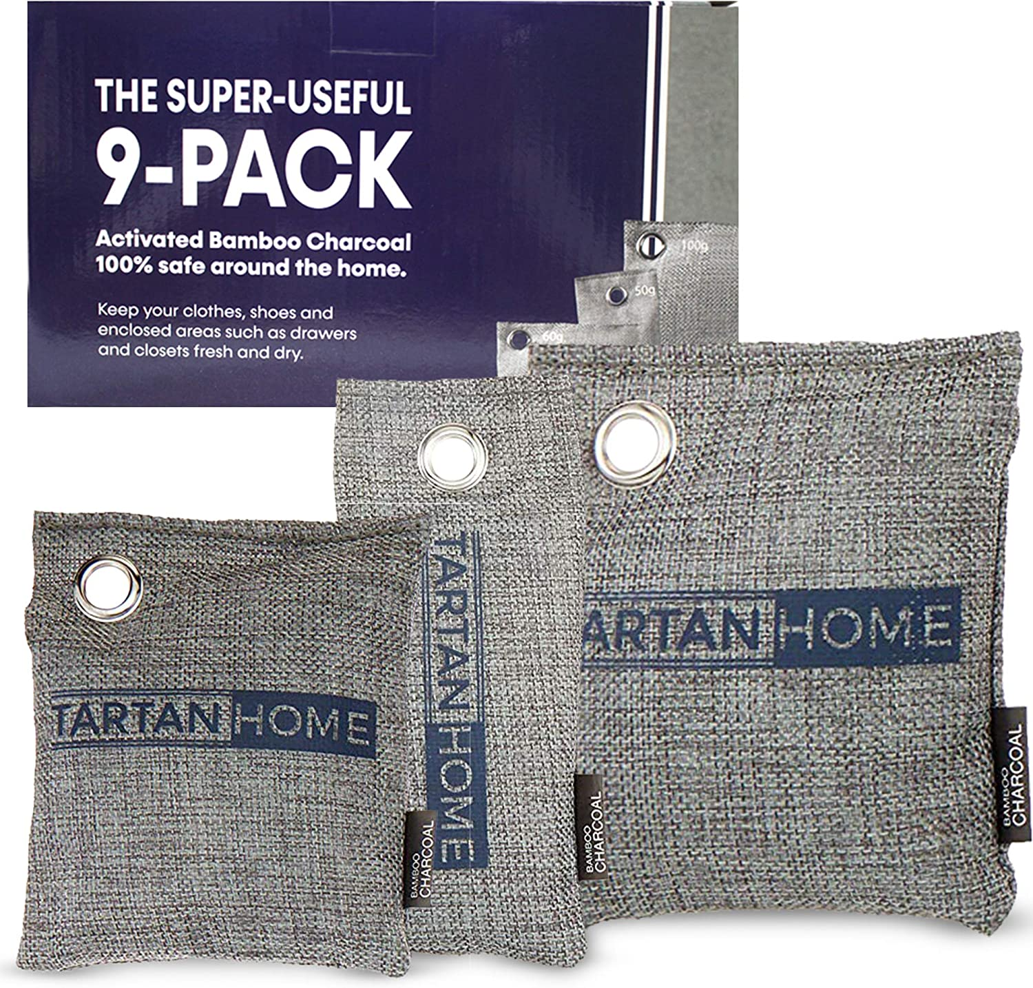 Charcoal Air Purifier Bags 9-Pack - 3 Sizes of Activated Charcoal Bags Natural Air Purifier Room Deodorizer for Home - Odor Absorber to Put in Your Shoes, Gym Bag, Closet, House and Car by Tartan Home