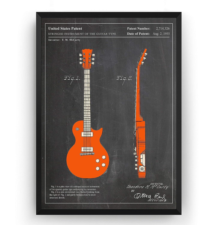 Les Paul 1955 Guitarra Poster de Patente - Colour Electric Guitar ...