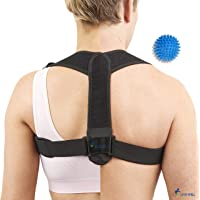 Back Posture Corrector for Women and Men | Adjustable Shoulder and Back Support | Back Brace | Relieve Lower & Upper Back Pain | Improves Posture | Made from Premium Quality | Bonus Spiky Ball Included | Universal
