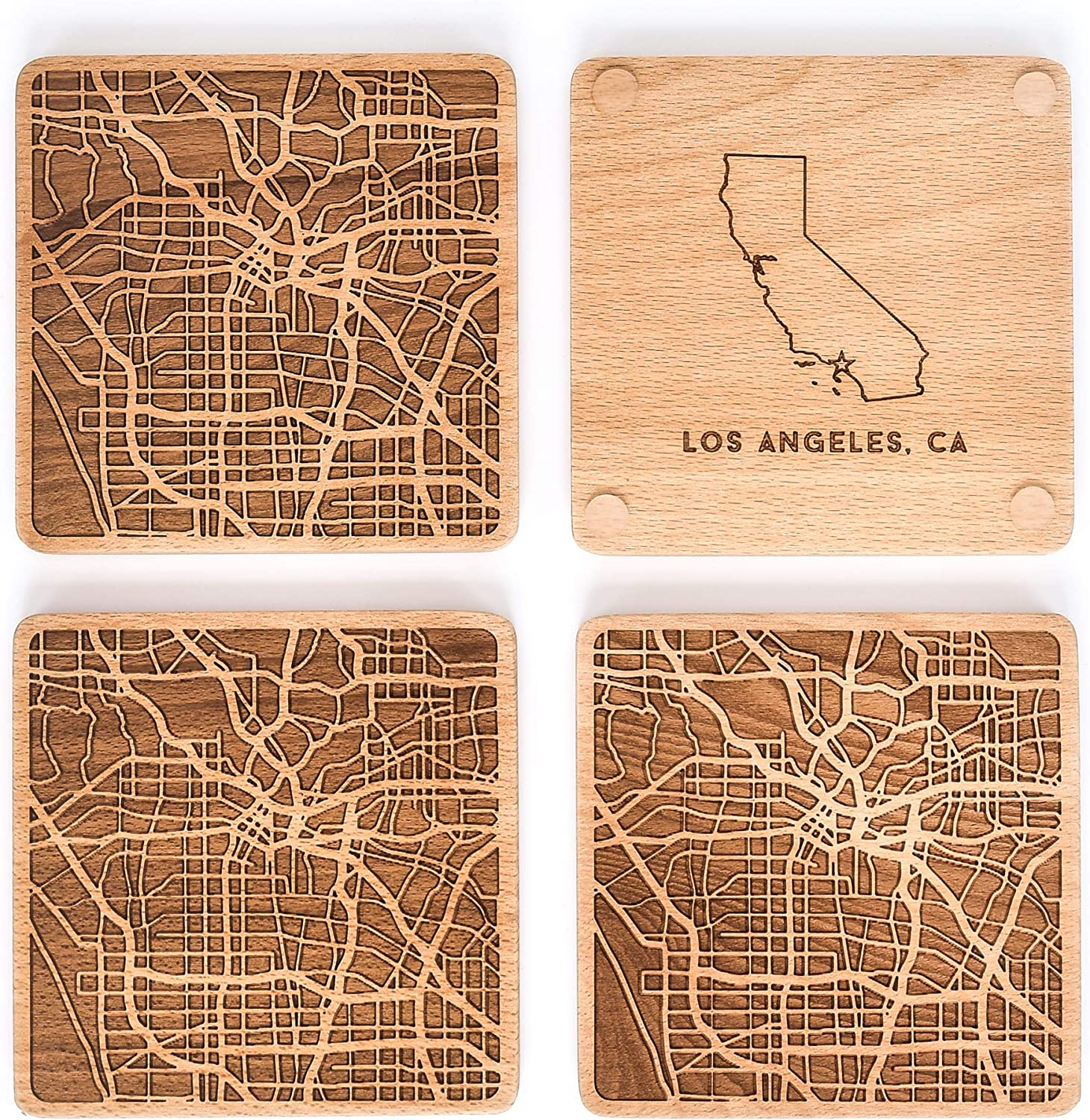 Greenline Goods Beech Wood Coasters Etched Wooden Coaster Set For Los Angeles Lovers Set Of 4 Etched With Los Angeles Map And State Of California 2 Sided Kitchen Dining