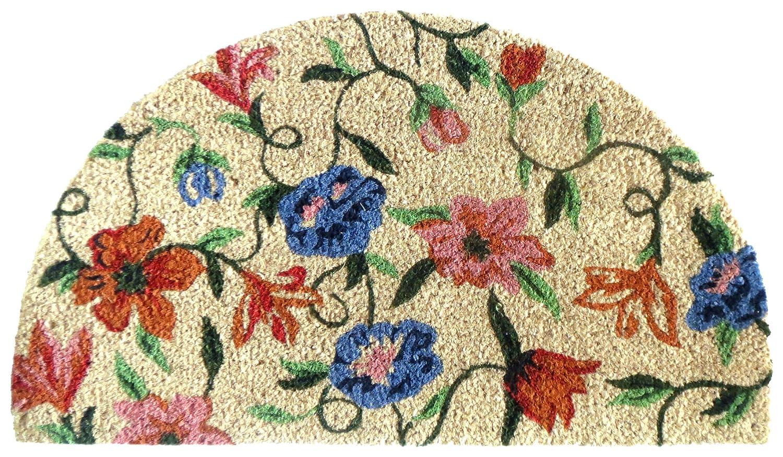 EHC 40 x 70 cm Tough Coir PVC Half Moon Entrance Door Mat, Floral Elitehousewares E7-9140