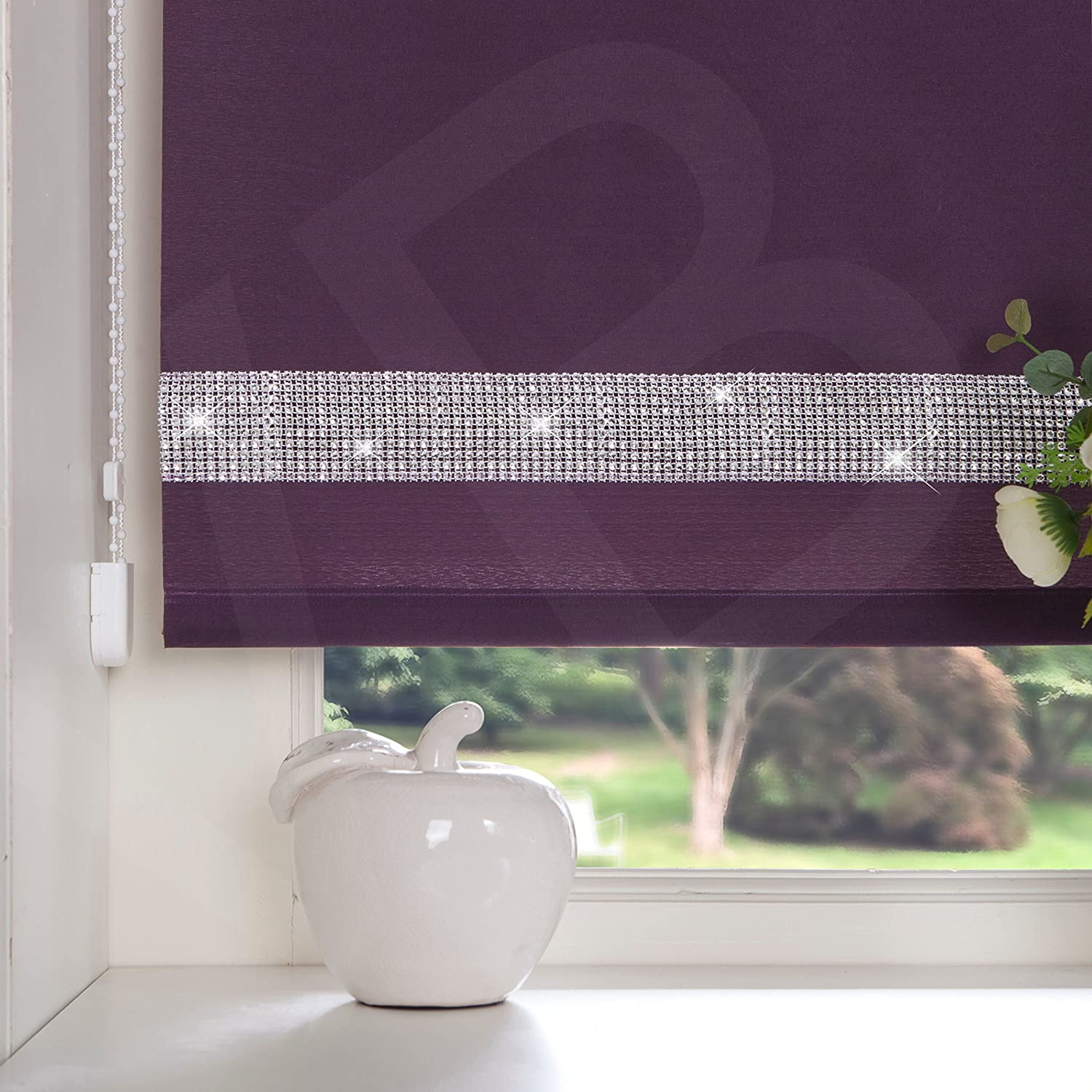EASY To FIT DIAMOND DIAMANTE TRIM DECORATIVE BORDER STRAIGHT EDGE ROLLER BLINDS WINDOW BLIND AUBERGINE PURPLE 60cm x 160cm (23.6'' x 63'') Viceroybedding
