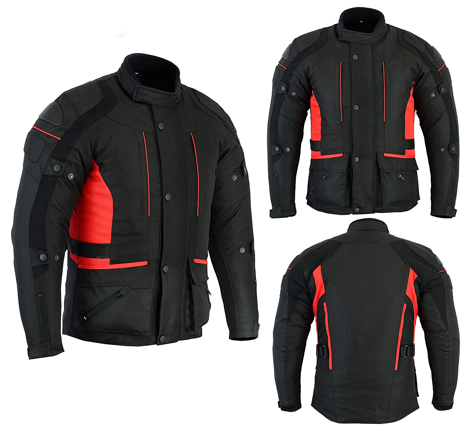 Mens Black/Grey Black/Red Black/High Viz Textile Motorcycle Motorbike Jacket Waterproof CE Armoured by Sterling Sports® (Black Grey, Small (36-38')) Small (36-38)) Sterling Sports® BRBGBH