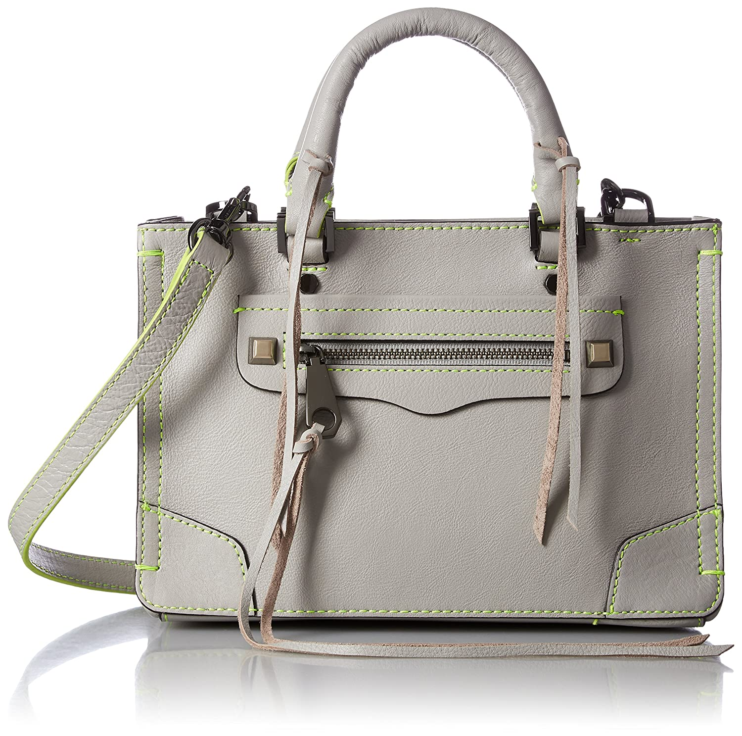 [レベッカミンコフ] 正規品 MICRO REGAN SATCHEL427-7280726-020 B06XWRTXJRPUTTY W/ NEON YELLOW STITCH