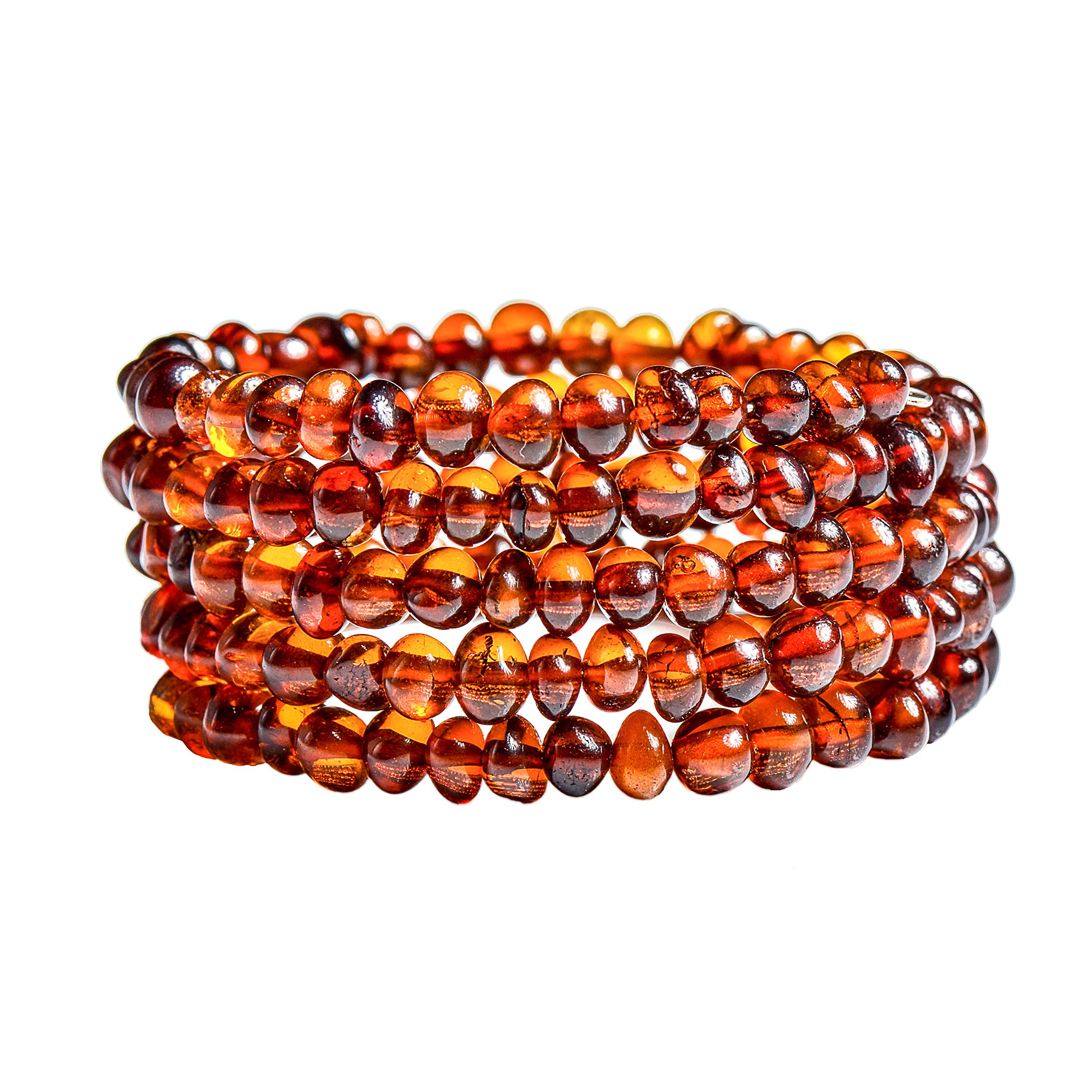 Genuine Baltic Amber Bracelet for Women - Made on Memory Wire - Handmade Natural Amber Beads Jewelry for Adult (Cognac) by Genuine Amber