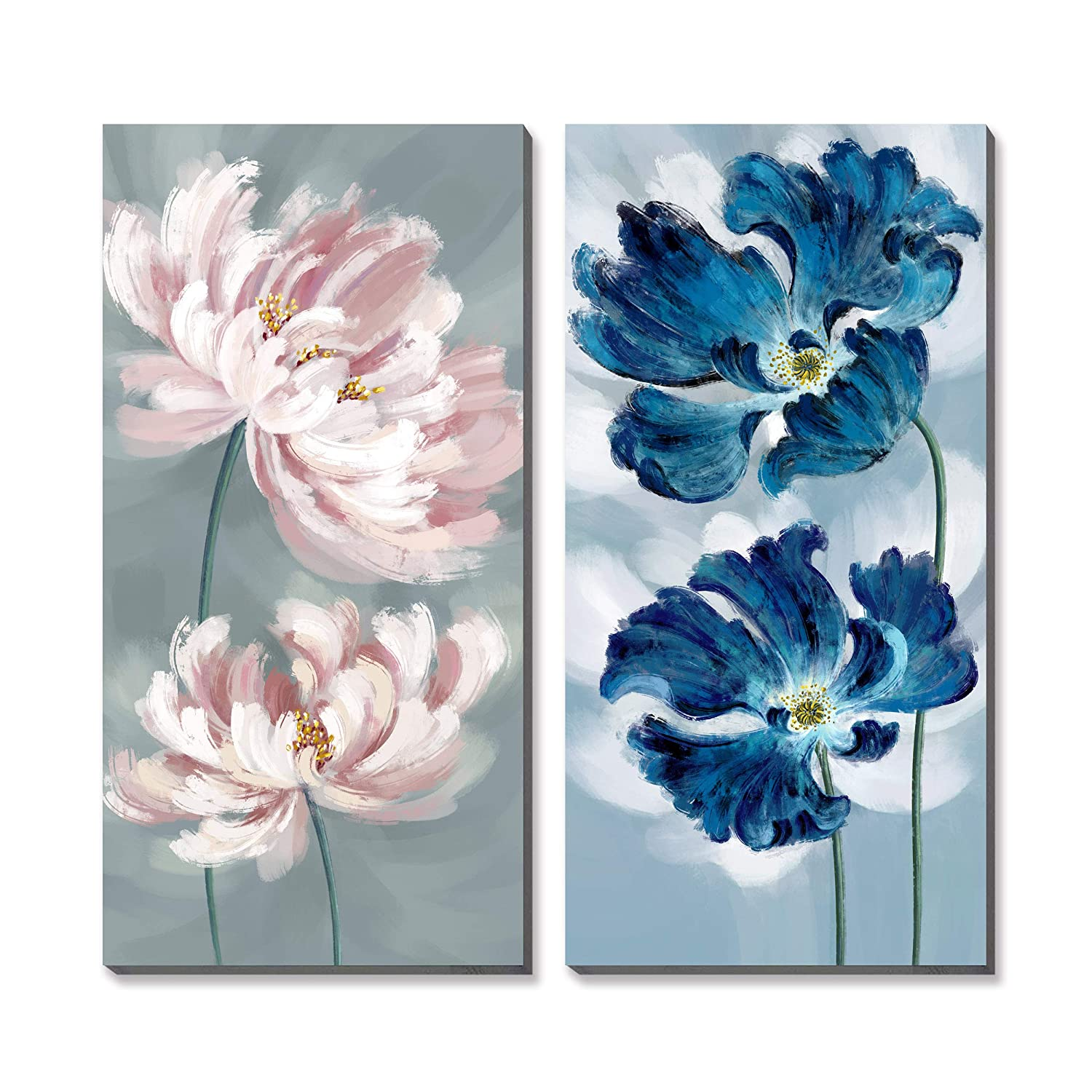 3Hdeko - Large Flower Wall Art Navy Blue Pink Floral Painting for Living  Room Bedroom Decor, 2 Pieces Modern Poppy Peony Picture Canvas Prints,  Ready ...