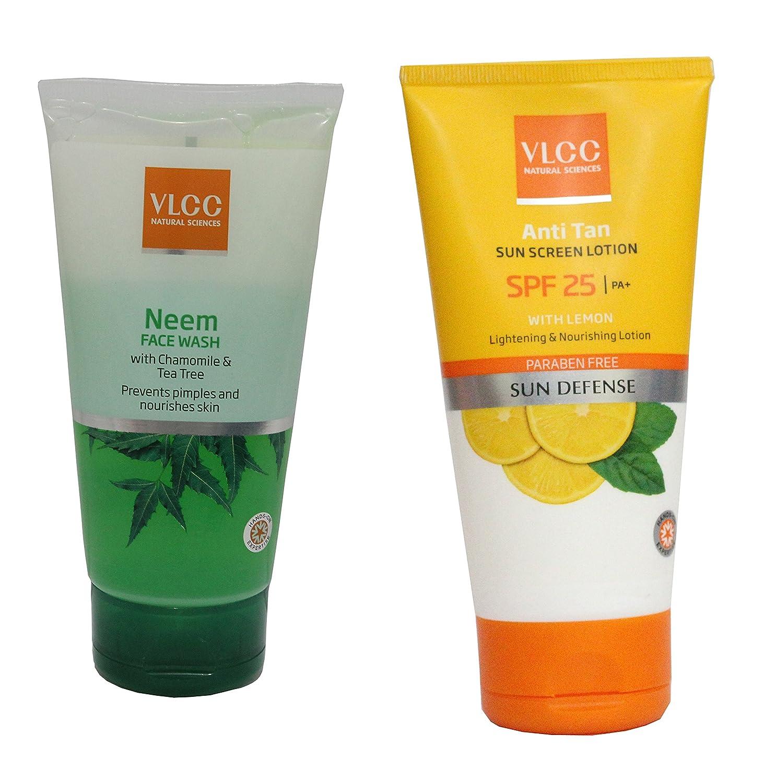 Vlcc Combo Kit of Neem Face Wash (150 ml) & Anti-Tan Sunscreen...