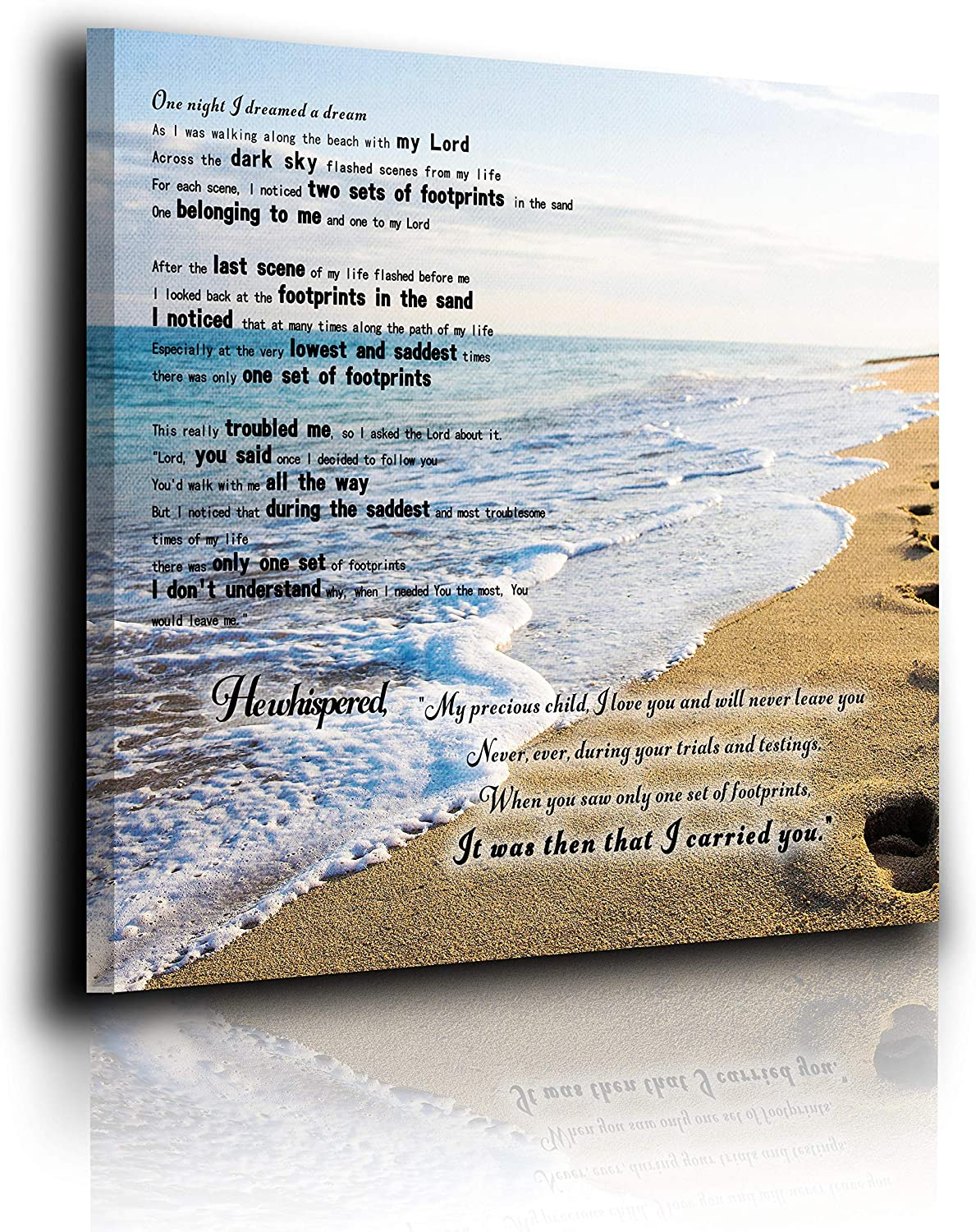 Footprints In The Sand Poem Canvas Print Art No Frame To Hang Home Decor Wall Decor, Canvas Print Wall Art Oil Painting Living Room Dining Room Bedroom Home Office Modern Wall Decor 12
