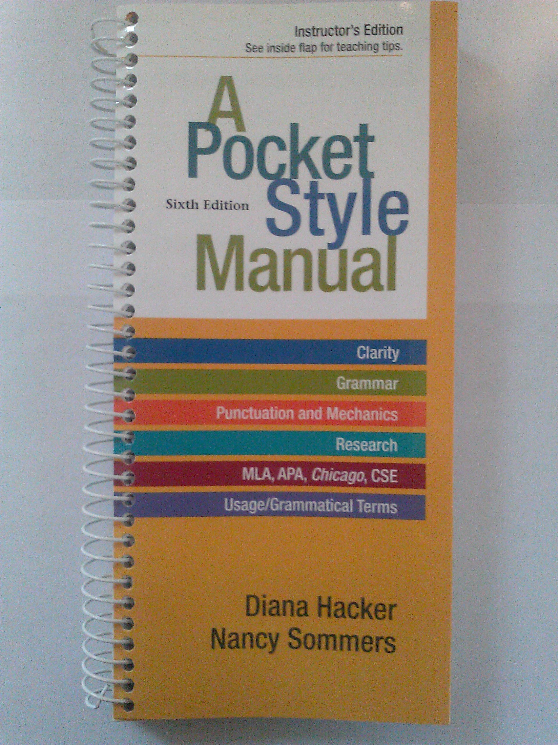 Pocket Style Manual: Diana Hacker, Nancy Sommers, Marcy Carbajal Van Horn:  9781457602399: Amazon.com: Books