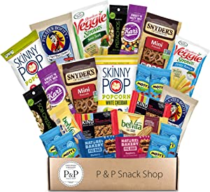 Healthy Non-GMO Snack Box (30 CT). Healthy Care Package: Chips, Cookies, Snack Bars, Fruit Snacks, Nuts, Popcorn Gift Box. Great for Offices, College Student (Dorm), Military Basket.