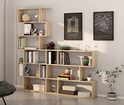 Miroytengo Pack 2 estanterías diseño zig-Zag estanteria Alta y Baja Color Roble Canadian Fabricadas en España