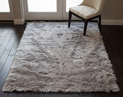 Silver Light Gray Light Grey Colors Faux Sheepskin Sheep Hide 5×7 Modern Contemporary Furry Fuzzy Area Rug Carpet Rug Solid Plush Pile Soft Decorative Designer Bedroom Living Room