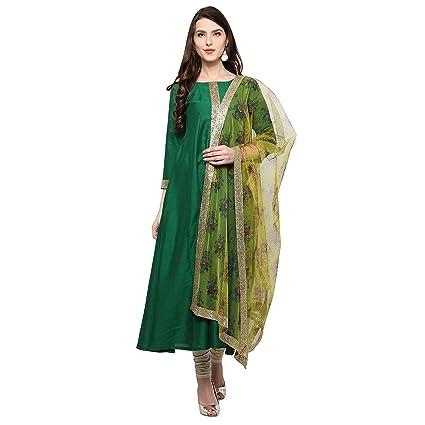 AHALYAA Women's Net Anarkali Kurta (Green) Women's Salwar Suits at amazon
