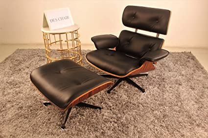 Eames Lounge Stoel Replica.Genuine Leather Eames Lounge Chair With Ottoman Replica Black