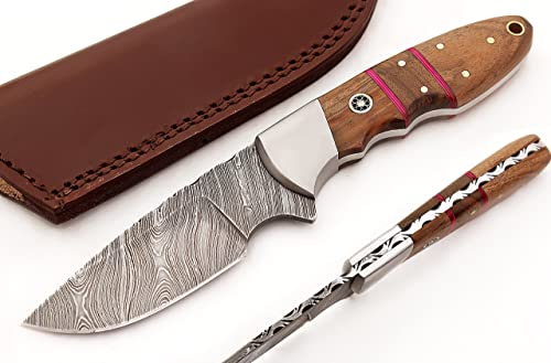 TR-2706 Custom made, Hand forged, new unique hunting skiner knife with neutral leather sheath