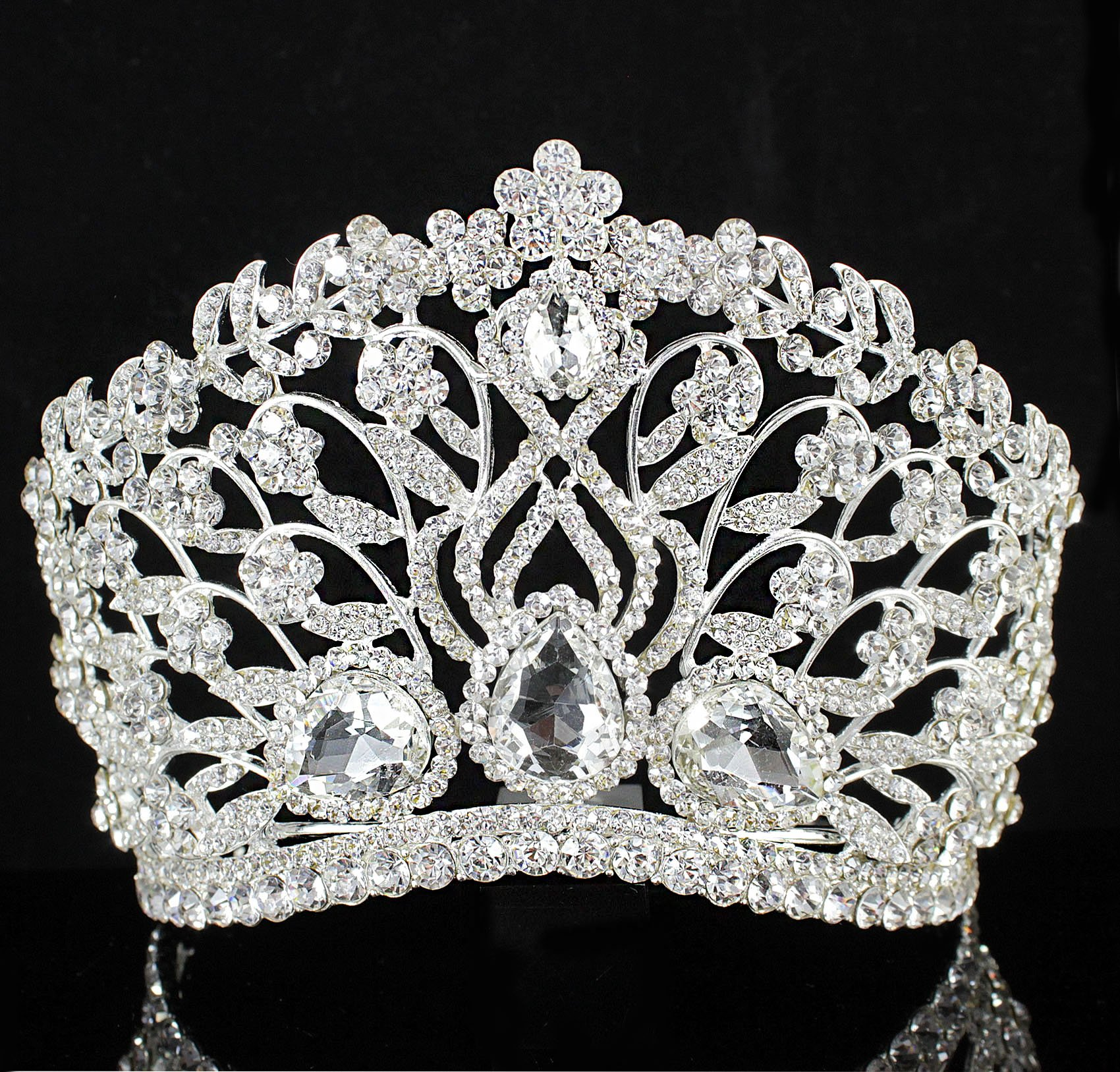 Janefashions Large Floral Clear White Austrian Rhinestone Crystal Tiara Crown With Hair Comb Headband Veil Headpiece Beauty Queen Princess Pageant Theater Show Bridal Silver T901 by Janefashions