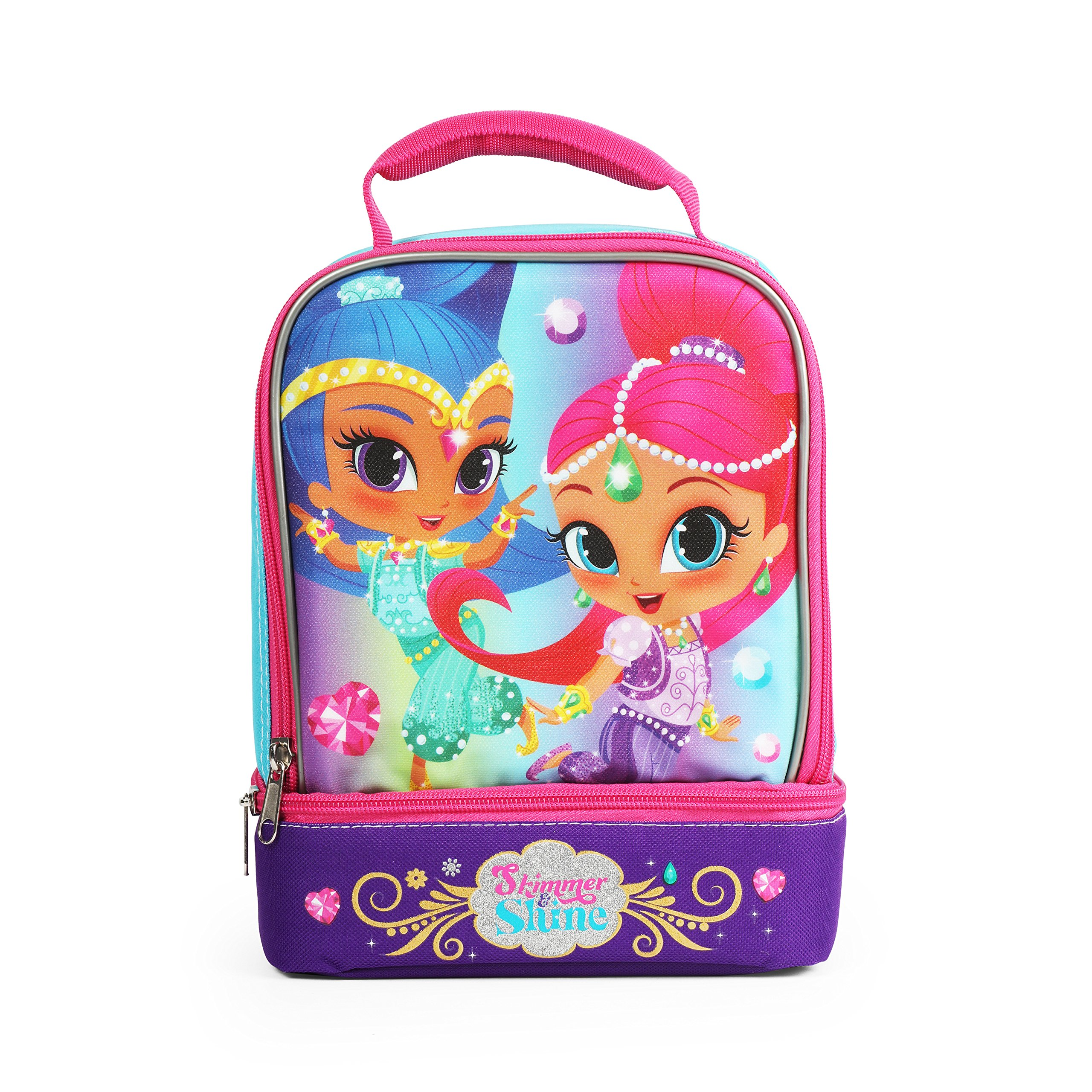 Nickelodeon Shimmer and Shine''Pink Jewels'' Insulated Dual Compartment Lunch Tote with Handle measures 7.5 inches W x 9.0 inches H x 5.0 inches Deep