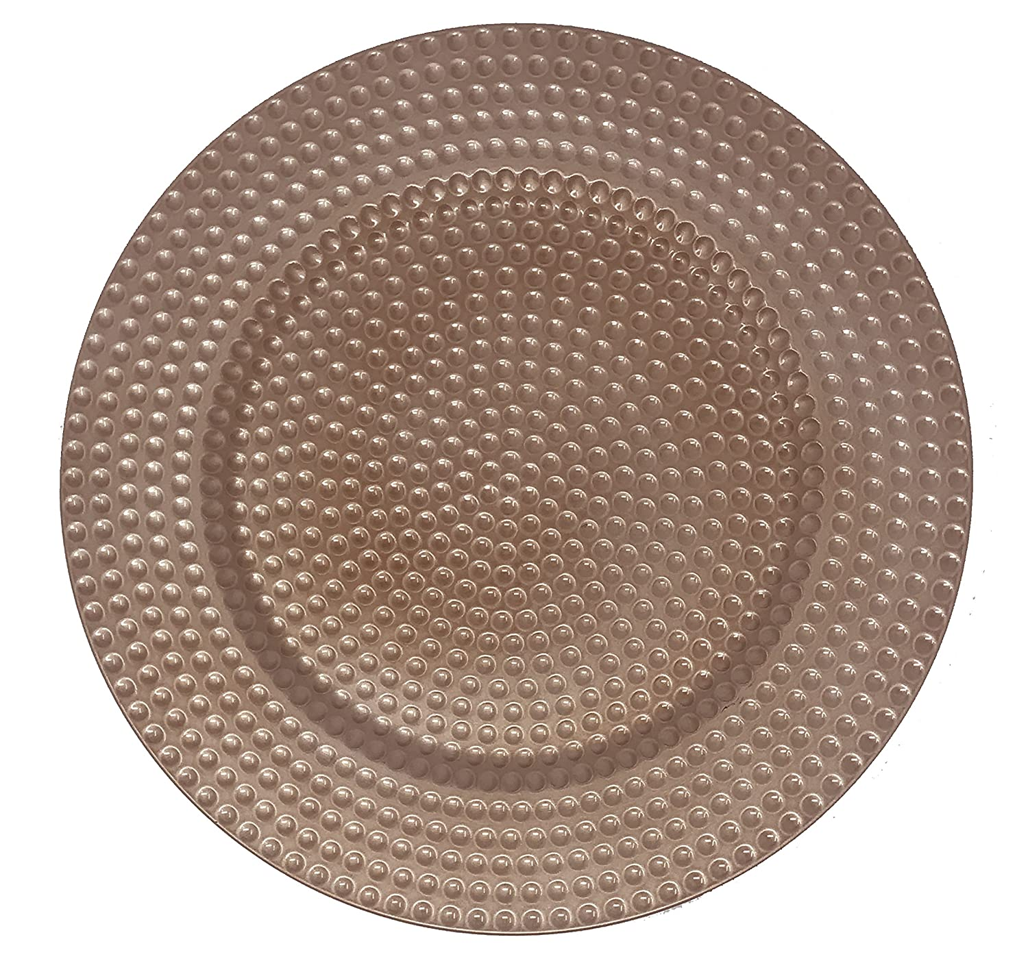 AK-Trading - Set of 12, Premium Finest Quality Party Plate Chargers, 13-Inch Round,Copper Hammered Design AK TRADING CO.