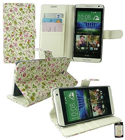 Emartbuy® HTC Desire 610 Funda Wallet Soporte de Sobremesa Carcasa Case Cover PU Cuero Floral Rosa/Verde con Tarjeta de Crédito Slots