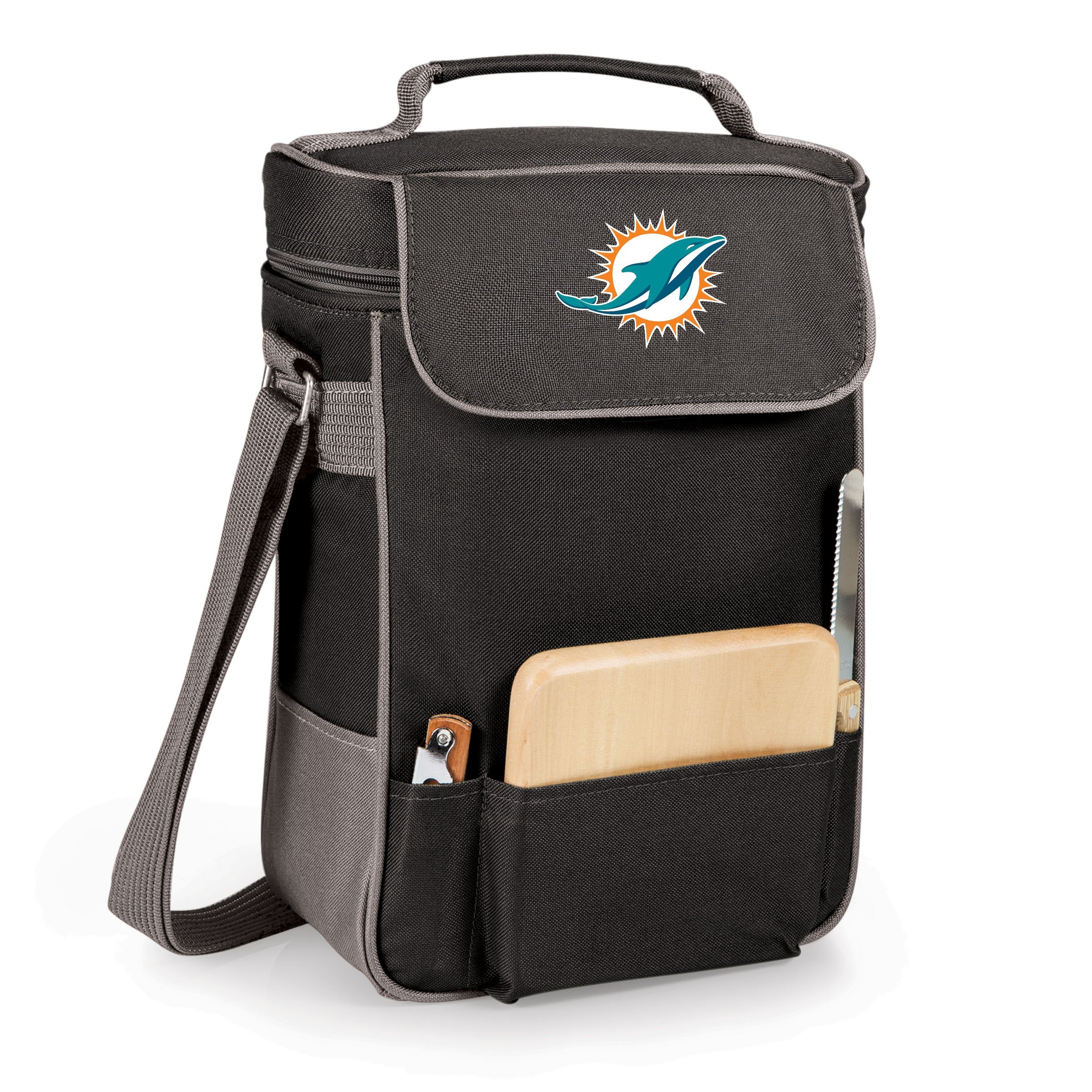 NFL Miami Dolphins Duet Insulated 2-Bottle Wine and Cheese Tote