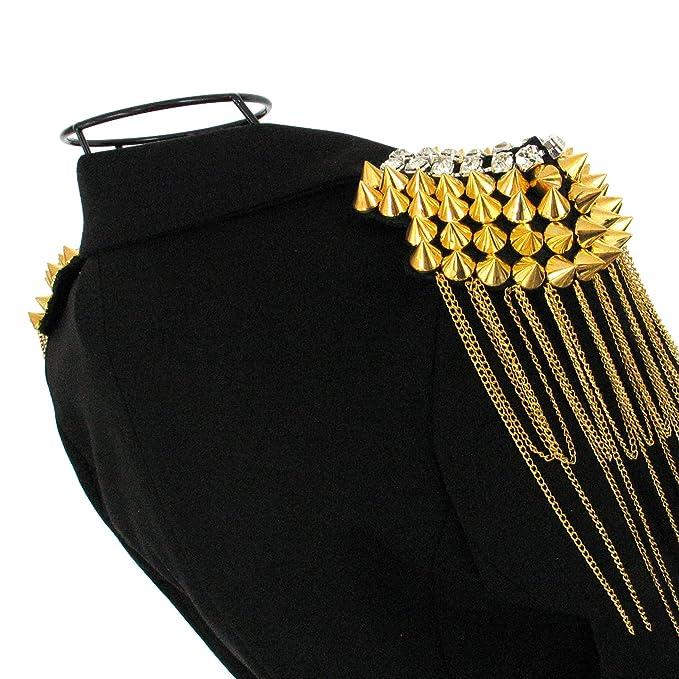 ea5f695ed51af rocknnail Paar Punk Nieten Schulterklappen Epauletten Achselstücke aus  Legierung Gold  Amazon.de  Bekleidung