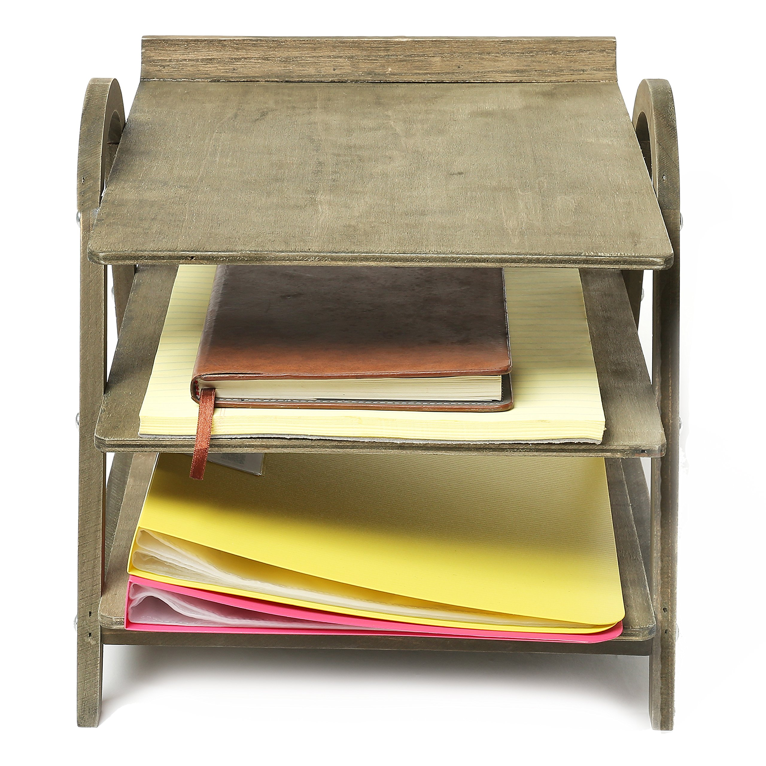 3 Tier Vintage Gray Wood Desktop Office Document Tray Holder, File Folder Rack by MyGift (Image #5)