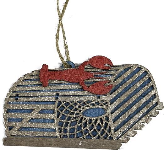 HANDCRAFTED WOOD LOBSTER TRAP w//XMAS LIGHTS COASTAL NAUTICAL CHRISTMAS ORNAMENT