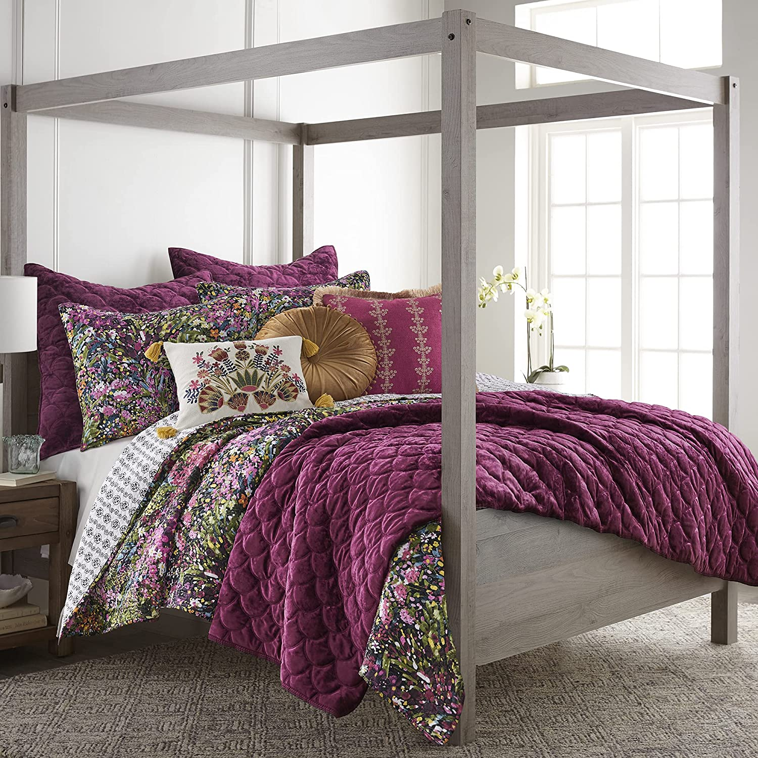 Levtex Home - Basel Quilt Set - King Quilt + Two King Pillow Shams - Multicolor Floral - Quilt Size (106x92in.) and Pillow Sham Size (36x20in. )- Reversible - Cotton