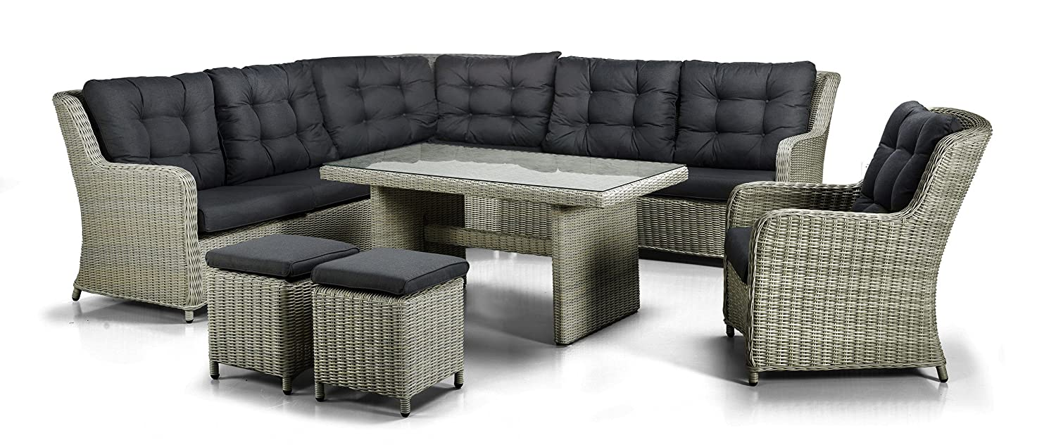 xxl luxus hohe dinning poly rattan lounge cuba inkl kissen und runder tiefer ecke von sunsit. Black Bedroom Furniture Sets. Home Design Ideas