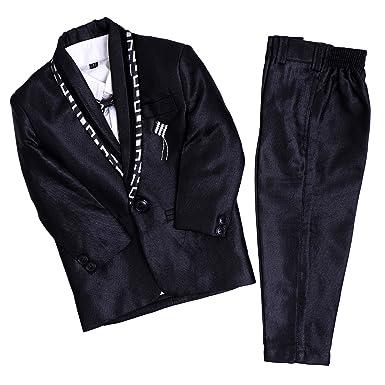 Needybee Back 5 Piece Boys Formal Suit Set Coat Pant Jacket