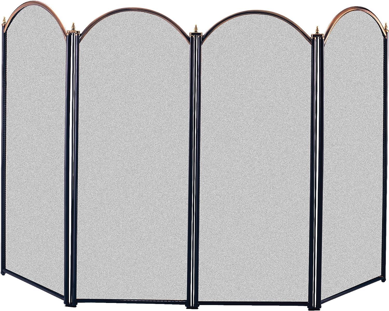 Panacea 15106 4 Panel Chimenea Protector de, latón Envejecido y Negro: Amazon.es: Jardín