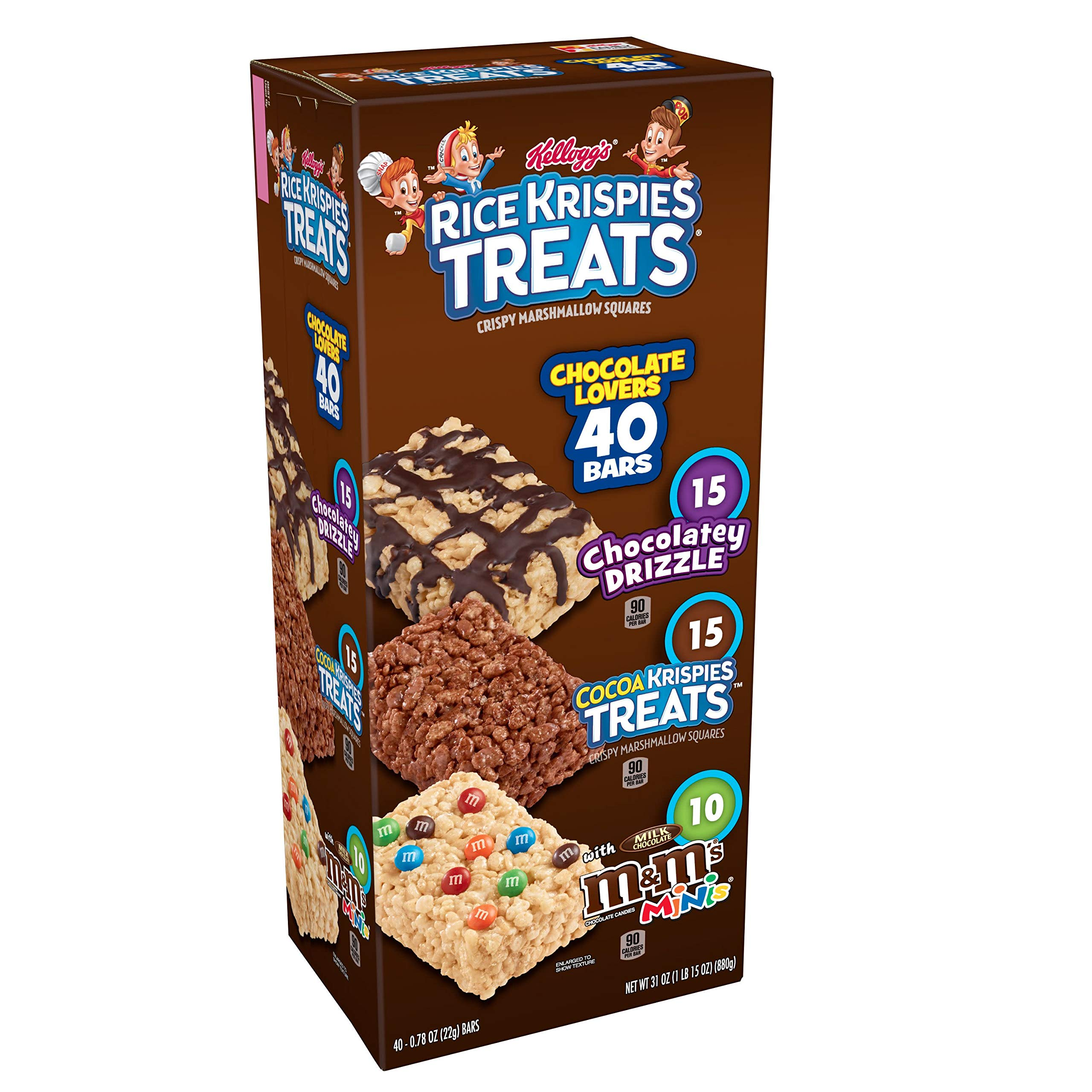 Kellogg's Rice Krispies Treats, Crispy Marshmallow Squares, Chocolate Lovers Variety Pack, Single Serve, 0.78 oz Bars (40 Count) by Rice Krispies (Image #1)