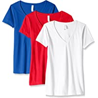 Clementine Apparel Womens 3-CLM1540 Ideal V-Neck T-Shirt (Pack of 3) Short Sleeve T-Shirt
